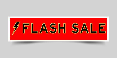 Red sticker label with word flash sale and thunder icon on gray background