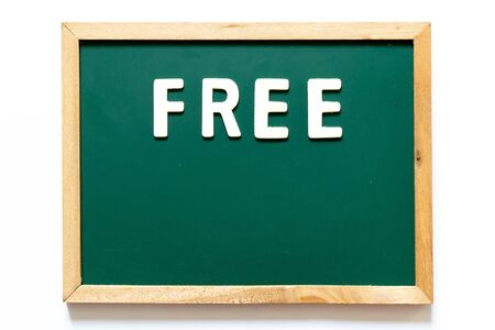 Green blackboard and wood frame with word free on white background