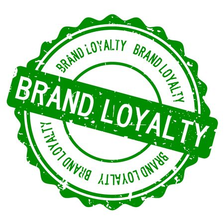 Grunge green brand loyalty word round rubber seal stamp on white background