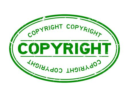 Grunge green copyright word oval rubber seal stamp on white background