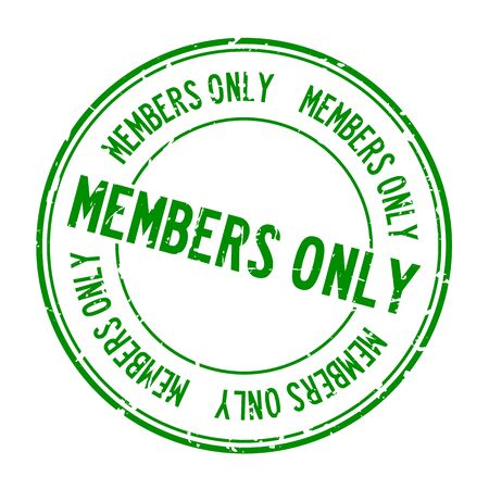Grunge green members only word round rubber seal stamp on white background