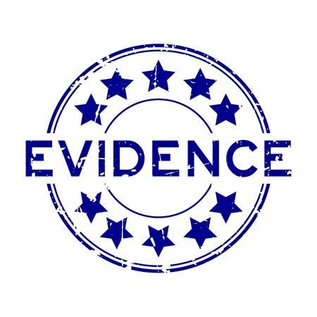 Grunge blue evidence word with star icon round rubber seal stamp on white background