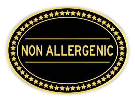 Gold oval label sticker with word non allergenic on white background