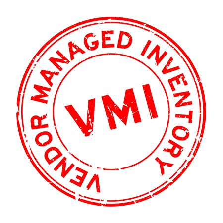 Grunge red VMI (abbreviation of vendor managed inventory) word round rubber seal stamp on white background