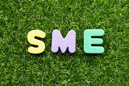 Toy foam letter in word SME (abbreviation of Small and medium sized enterprises) on green grass background