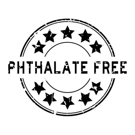 Grunge black phthalate free word with star icon round rubber seal stamp on white background