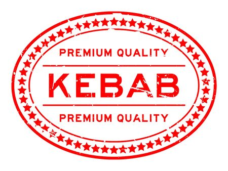 Grunge red premium quality kebab word oval rubber seal stamp on white background Reklamní fotografie