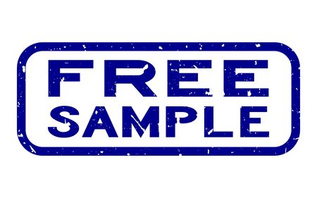 Grunge blue free sample word square rubber seal stamp on white background Иллюстрация