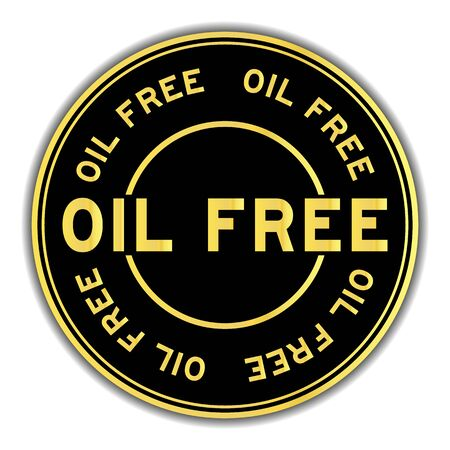 Black and gold color oil free word round seal sticker on white background