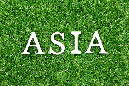 Wood letter in word asia on green grass background Banco de Imagens