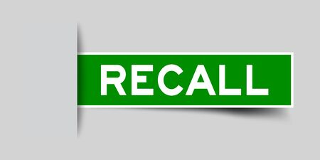 Square seal green color sticker in word recall insert on gray background