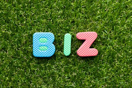 Toy foam letter in word biz (abbreviation of business) on green grass background Imagens