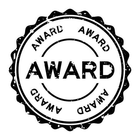 Grunge black award word round rubber seal stamp on white background