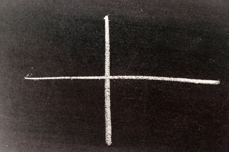 White chalk drawing in line shape that cross as graph intersection on black board background