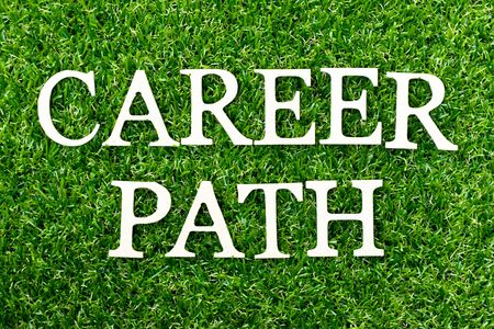 Wood alphabet letter in word career path on green grass background