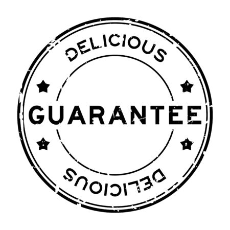 Grunge black guarantee delicious word round rubber seal stamp on white background