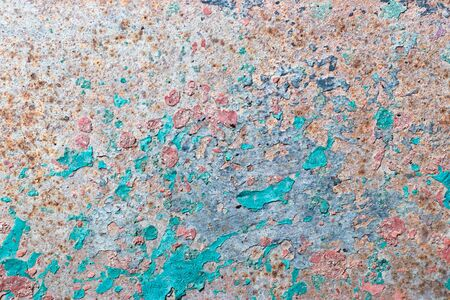 Grunge red brown rust on peel blue color metallic sheet textured background Imagens