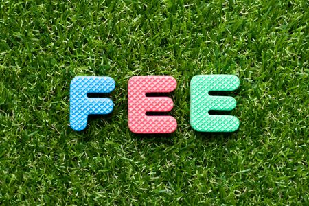 Toy foam letter in word fee on green grass background