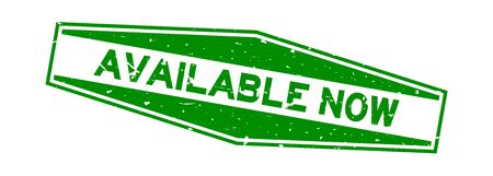 Grunge green available now word hexagon rubber seal stamp on white background