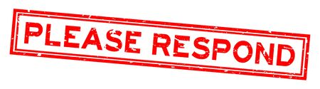 Grunge rot bitte antworten Sie Wort quadratischen Siegelstempel auf weißem Hintergrund