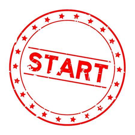 Grunge red start word with star icon round rubber seal stamp on white background Foto de archivo - 131220355