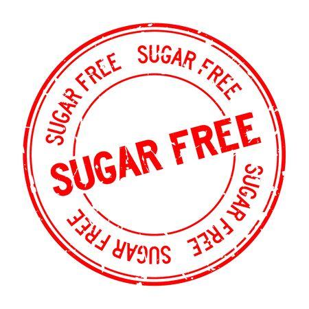 Grunge red sugar free word round rubber seal stamp on white background