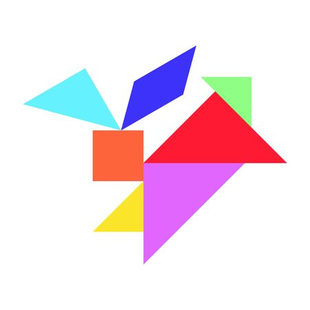 Tangram puzzle in rabbit shape on white background (Vector)