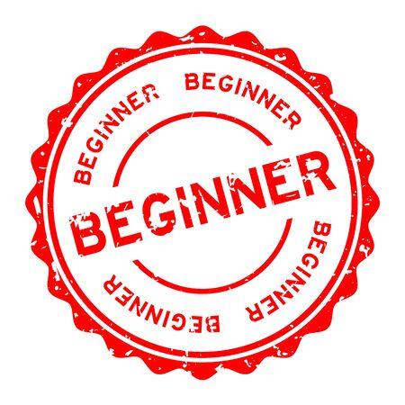 Grunge red beginner word round rubber seal stamp on white background