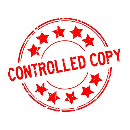Grunge red controlled copy word with star icon round rubber seal stamp on white background