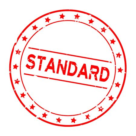 Grunge red standard word with star icon round rubber seal stamp on white background