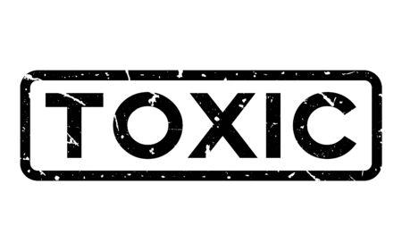 Grunge black toxic word square rubber seal stamp on white background