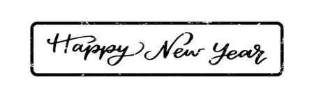 Grunge black happy new year word square rubber seal stamp on white background 向量圖像