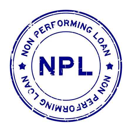 Grunge blue NPL word (abbreviation of non performing loan) round rubber seal stamp on white background