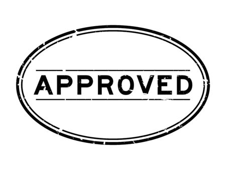 Grunge black approved word oval rubber seal stamp on white background Foto de archivo - 129761880