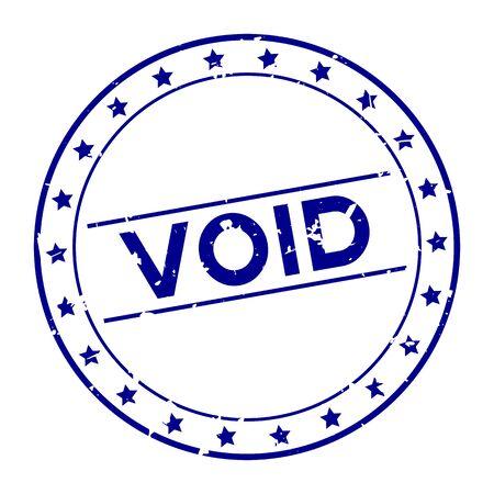 Grunge blue void word with star icon round rubber seal stamp on white background Foto de archivo - 129763380