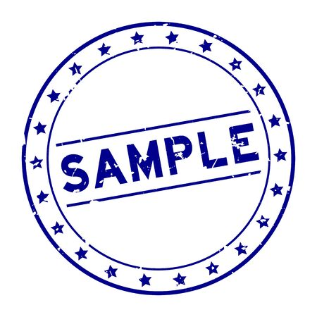 Grunge blue sample word round rubber seal stamp on white background Ilustração