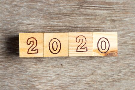 Letter block in word 2020 on wood background