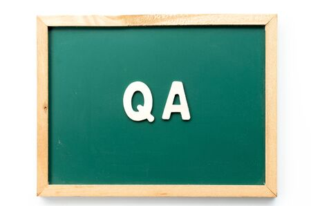 Letter in word QA (Abbreviation of quality assurance) in blackboard on white background 스톡 콘텐츠 - 130134673