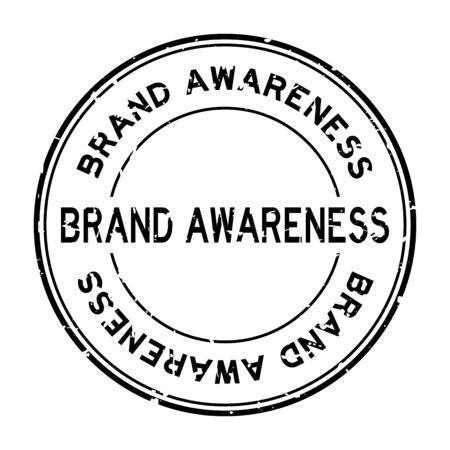 Grunge black brand awareness word round rubber seal stamp on white background