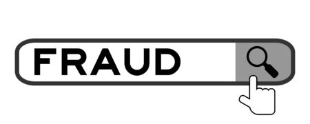 Hand icon over magnifier to find word fraud in search banner on white background