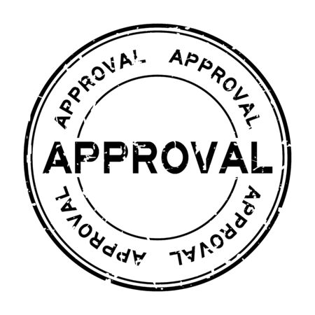 Grunge black approval word round rubber seal stamp on white background Illustration