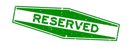 Grunge green reserved word hexagon rubber seal stamp on white background Фото со стока - 130135824