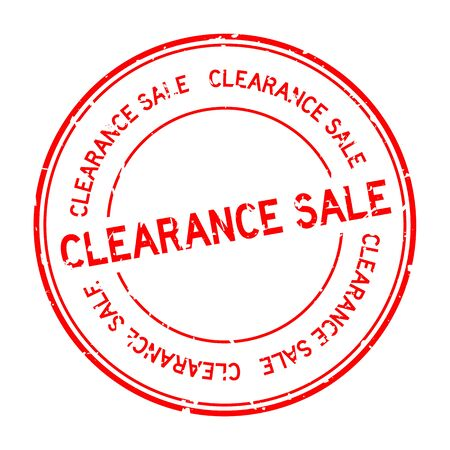 Grunge red clearance sale word round rubber seal stamp on white background Archivio Fotografico - 130135829