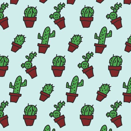 Handdrawing in doodle shape of cactus background Фото со стока - 130519358
