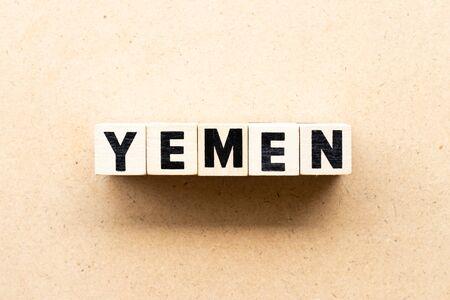 Letter block in word yemen on wood background Stock fotó