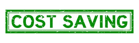 Grunge green cost saving word square rubber seal stamp on white background