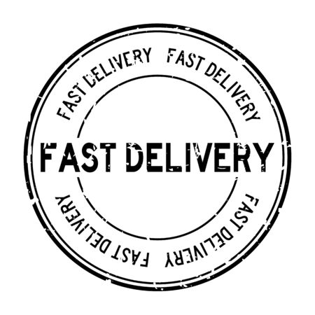 Grunge black fast delivery word round rubber seal stamp on white background
