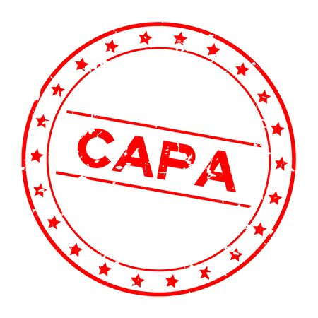 Grunge red CAPA (abbreviation of corrective action and preventive action) word round rubber seal stamp on white background