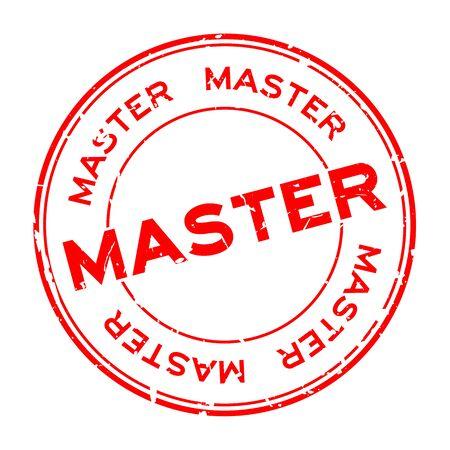Grunge red master word round rubber seal stamp on white background Çizim