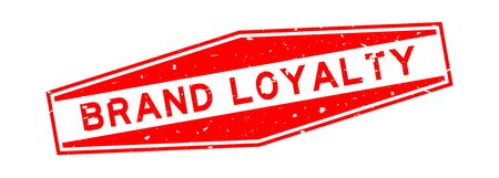 Grunge red brand loyalty word hexagon rubber seal stamp on white background Illustration